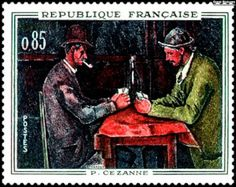 wine stamps of Paris France | Postage stamp of The Card Players, issued by the Government of France ...