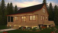 Fantastic use of 1189 sq., The Barrington is a story log cabin with 3 bedrooms and 1 bath - great for the lake! Log Cabin Floor Plans, Log Cabin Kits, Log Cabin Homes, Cabin Plans, Log Cabins, Cabin Design, House Design, Interior Balcony, Log Home Living