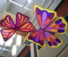 Banner Art Studio created a large scale suspended fabric display of butterflies, dragonflies and leaves for the entryway of an outpatient children's center at Sutter Medical Plaza in Sacramento, California.