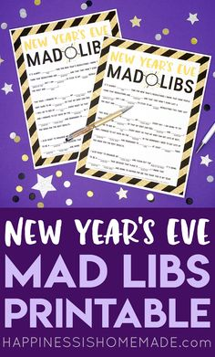 This fun FREE New Year's Eve Mad Libs printable is perfect for kids of all ages (and grown-ups too! Great for teachers New Year's Eve parties Scouts playgroups and more! Family New Years Eve, New Years Eve Games, New Years Eve Day, New Years Party, New Year's Eve Celebrations, New Year Celebration, New Year's Games, Nye Games, New Year's Eve Activities