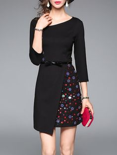 3/4 Sleeve Simple A-line Appliqued Mini Dress