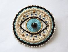 the Main Eye Hand embroidery Embroidered brooch by AlexandraRed