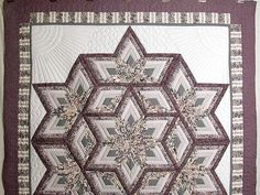 Diamond Log Cabin Star Quilt -- terrific adeptly made Amish Quilts from Lancaster (hs852)