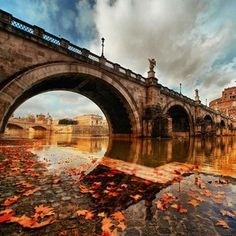 Instagram photo by awesome_earthpix - Bridge in Rome at Autumn Via @fantastic.colours