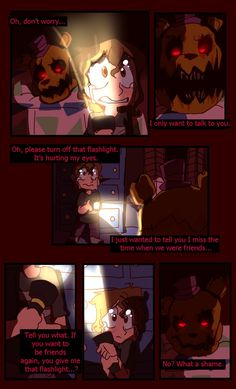 [fav.me/dana1e7] < Previous | Next > [ fav.me/dap56oa] Fredbear saves the child from the Nightmares, but are his intentions truly good? If they are, he's not very good at showing it...