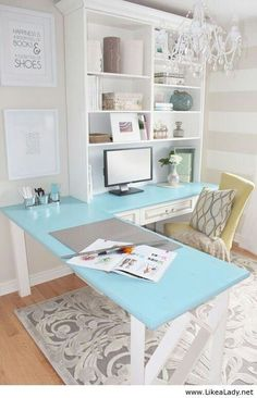 Funky functional little office. The tinted glass table & the chandelier make this little office a beautiful, relaxing spot to do work. - funky functional small space -