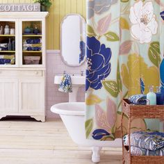 Painterly Floral Shower Curtain - SO cute - and would look rockin w/ the yellow pocket door :)