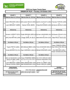 2015 #LASVEGASTENNISOPEN - LAS VEGAS, USA, 19-25 OCTOBER 2015 ORDER OF PLAY - TUESDAY, OCTOBER 20, 2015 #LVTO