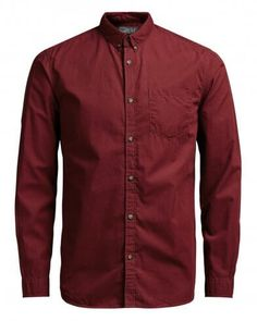 JACK & JONES Men's Long Sleeve Shirt. Additional features for each style include:  Slim Fit Soft tailored design Button collar Long sleeve Rounded bottom hem 100% cotton Plain Design