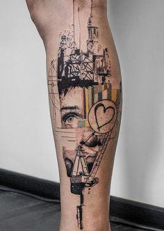 Illustration style calf tattoo - 50+ Amazing Calf Tattoos