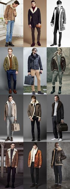 Men's Shearling Coats And Jackets Outfit Inspiration Lookbook