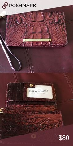 BRAHMIN wristlet Alligator skin design in a beautiful coppery color. Brahmin Accessories
