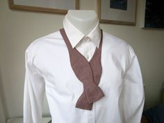 Bowtie - Taupe Linen - Classic Freestyle - Self Tie - Handmade by Strictly Bow Ties - Shipping Worldwide. by StrictlyBowTies on Etsy