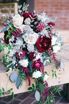 Peonies and Roses - Wine, mulberry, berry, marsala... whatever you like to call this color, it pairs lovely with the soft hues of grey from the eucalyptus and succulents. Garden cascade bridal bouquet - Simply Regal by Julie #gardenweddings #peoniesgarden