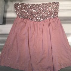 Dusty pink silver sequins tube top So cute but too big for me. Previously owned but I was never able to wear it myself. Super comfy and cute! Offers welcomed :) Victoria's Secret Tops