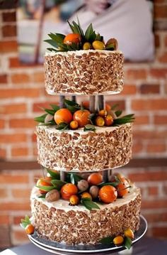 Totally love the accents of fruit and herbs. Found at Wedding Cake Prices: 20 Ways To Save Big