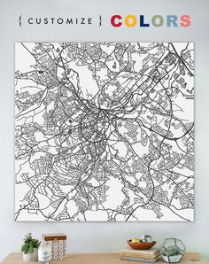 Map of Sheffield large canvas or print city map by laurenmaryMAPS