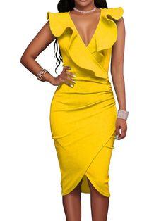 bf5d40580 Surplice Plain Bodycon Dress