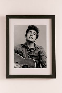 Bob Dylan Portrait With Acoustic Guitar & Cigarette By Michael Ochs/Getty Images Art Print