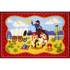 Fun Rugs Olive Kids Ride 'Em Cowboy Kids Rug