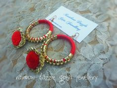 Red and gold earrings   For more designs, like my facebook page  Rainbow Dazzle Gota Jewellery  https://www.facebook.com/pages/Rainbow-Dazzle/461994940500930