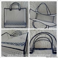 Discover thousands of images about Tutorial bolso plastic canvas NO SEW Plastic Canvas Stitches, Plastic Canvas Crafts, Plastic Canvas Patterns, Canvas Purse, Canvas Tote Bags, Types Of Craft, Craft Bags, Crochet Handbags, Weaving Patterns