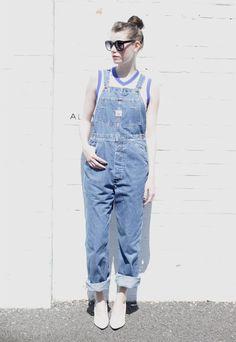 I found this Vintage 1980's Medium Wash Blue Long Denim Dungarees on www.peekaboovintage.com