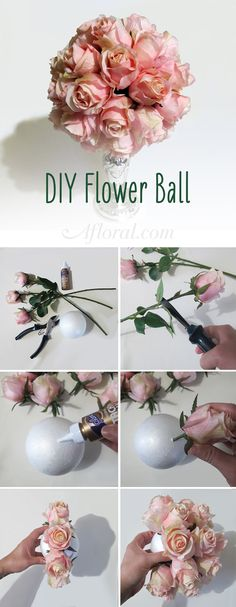DIY Flower Ball.  Make your own pomander ball with silk flowers from Afloral.com.  Pick your favorite silk rose color and glue them to a foam ball.  Hang from a ribbon or attach to that top of a taper candle holder.