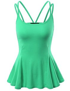 Doublju Womens Sleeveless Flare Peplum Top With Double Spaghetti Straps MINT 3XL *** You can find out more details at the link of the image.Note:It is affiliate link to Amazon. #likeforlike