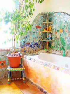 30 Hippie House Ideas 35 You are in the right place about hippie home decor diy. - Hippie Home Decor Earthship, Bohemian Bathroom, Bohemian Decor, Bohemian Style, Hippie House Decor, Bohemian Homes, Boho Gypsy, Mosaic Bathroom, Mosaic Tiles