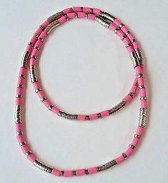 Aarikka Finland VTG Tamara Necklace Pink Wood Beads and Silver Toned Metal Parts #Aarikka #Beaded