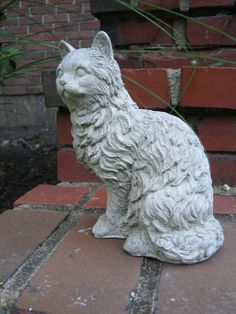 Cat Statue Concrete Figure by WestWindHomeGarden on Etsy, $19.95
