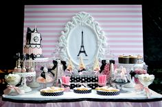 Dessert Table at a Paris Party #parisparty #table