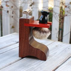 Shaving Stand for DE Razor and Brush- Solid Walnut Wood with Padauk Accent