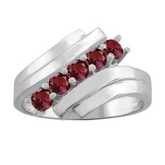 10K White Gold Round 5-stone Mothers Ring (Size 6.5,Garnet), Women's, Red