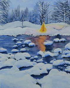 ARTFINDER: Merry Christmas! by Neha Soni - A snow scene with river.  Snow has its own beauty. It is a time of celebration and brings people together. A time to get cozy and lazy. No one seemed to be i...