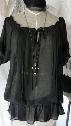 Gypsy boho bohemian black sheer peasant blouse by SummersBreeze