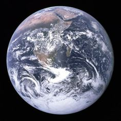"""<b>Blue Marble, 1972</b>; The original """"Blue Marble"""" was taken on Dec. 7, 1972, by the crew of the Apollo 17 spacecraft en route to the Moon at a distance of about 29,000 kilometres (18,000 mi). It shows Africa, Antarctica, and the Arabian Peninsula."""
