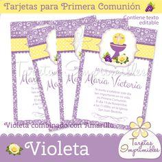 Tarjetas para Comunión de niñas Violeta