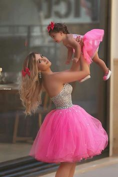 hot pink beaded prom dresses short mother and daughter matching dresses toddler little girl dresses (price is for both dresses) Baby Girl Party Dresses, Birthday Dresses, Little Girl Dresses, Baby Dress, Girls Dresses, Prom Dresses, Dress Party, Party Gowns, Bridesmaid Dresses