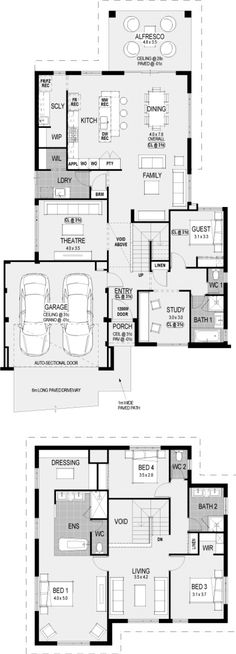 The Metropolitan floorplan - move ldry between garage n theatre n push garage side forward to line up kitchen family n dining along back. luv t scullery! 4 Bedroom House Plans, Dream House Plans, House Floor Plans, My Dream Home, Detail Architecture, Home Design Floor Plans, American Houses, House Blueprints, House Layouts