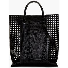 Helmut Lang Black Lattice Calfskin Argon Tote ($398) ❤ liked on Polyvore featuring bags, handbags, tote bags, bolsas, purses, pocket tote, reversible handbag, tote and pocket tote bag