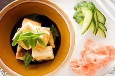 Agedashi tofu with salmon and cucumber – Recipes – Bite