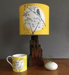 Yellow and grey lampshade - bird lampshade - yellow lampshade - 20cm lampshade - light shade - designer lampshade - alison bick