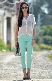 Mint bottoms and see through top! Perfect combo!!!!!!