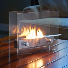 The Monogrammed Tabletop Fireplace - Hammacher Schlemmer