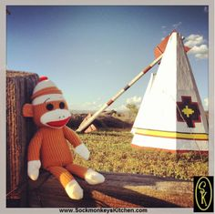 Chillin by a #Teepee... & a giant arrow. Click the pic for all of the #Sockmonkey photos