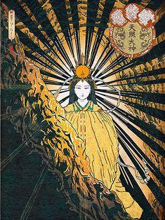 天照大神 Japanese Mythology, Japanese Folklore, Japanese Buddhism, Japanese Legends, Japanese Art Modern, Polynesian Art, Amaterasu, Japan Art, Aesthetic Iphone Wallpaper