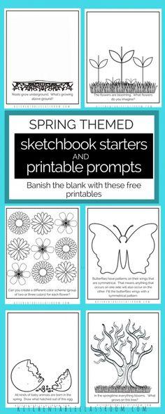 Sketchbook Prompts -Printable Sketchbook Starters Perfect for Spring