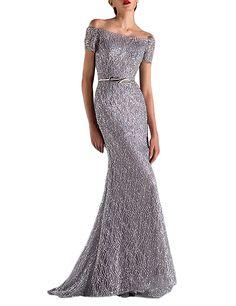 Angelbridal Damen Elegante A-Linie Pailletten Abendkleid Ballkleid Lang Hochzeit Brautjungfernkleid mit Träger Silber 12